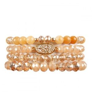 TAUPE DRUZY OVAL MIXED BEADS BRACELET Stackers